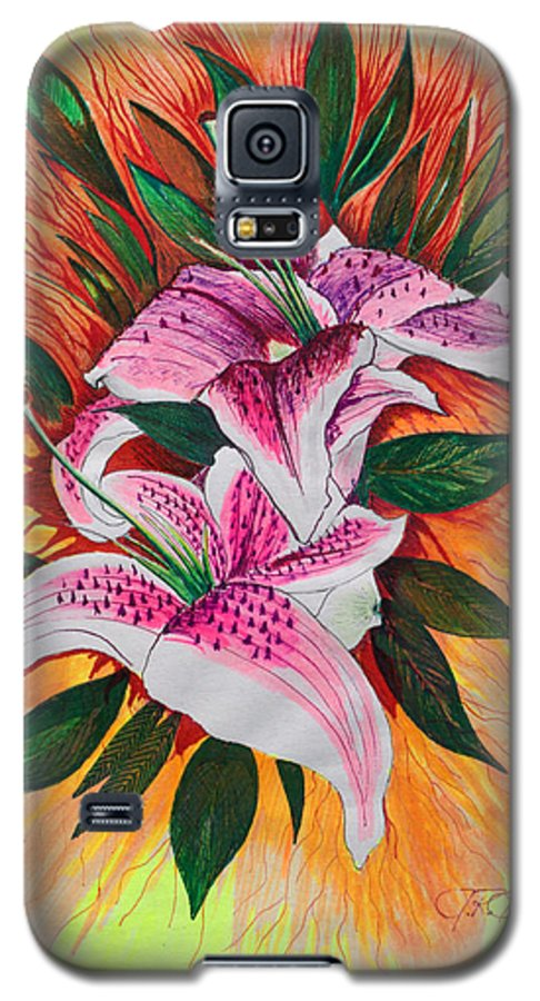 Flowers Galaxy S5 Case featuring the drawing Stargazers by J R Seymour