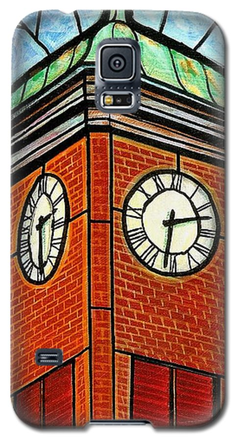 Clocks Galaxy S5 Case featuring the painting Staunton Clock Tower Landmark by Jim Harris