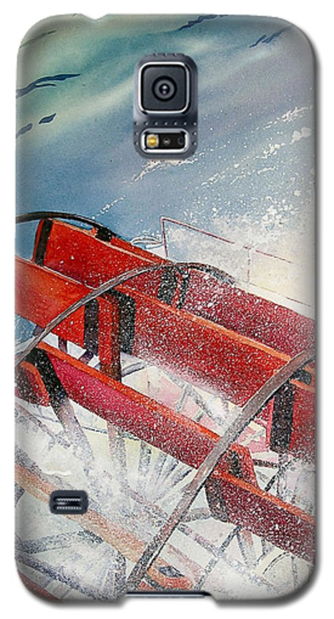 Paddlewheeler Galaxy S5 Case featuring the painting Sternwheeler Splash by Karen Stark