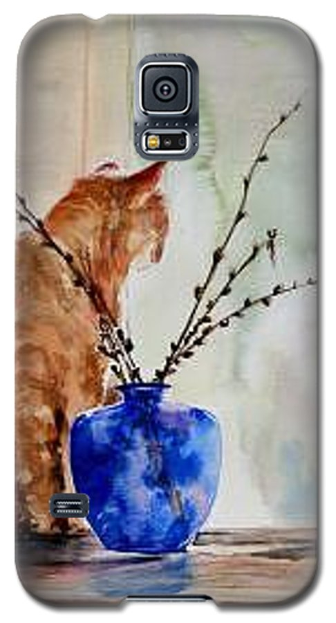 Cat Galaxy S5 Case featuring the painting Still Life by Lynee Sapere