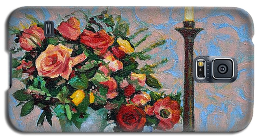 Flowers Galaxy S5 Case featuring the painting Still Life With A Lamp by Iliyan Bozhanov