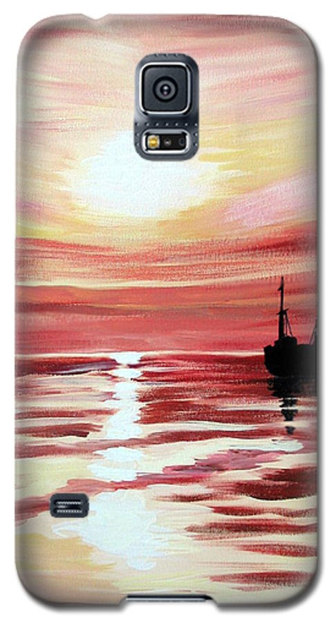 Seascape Galaxy S5 Case featuring the painting Still Waters Run Deep by Marco Morales