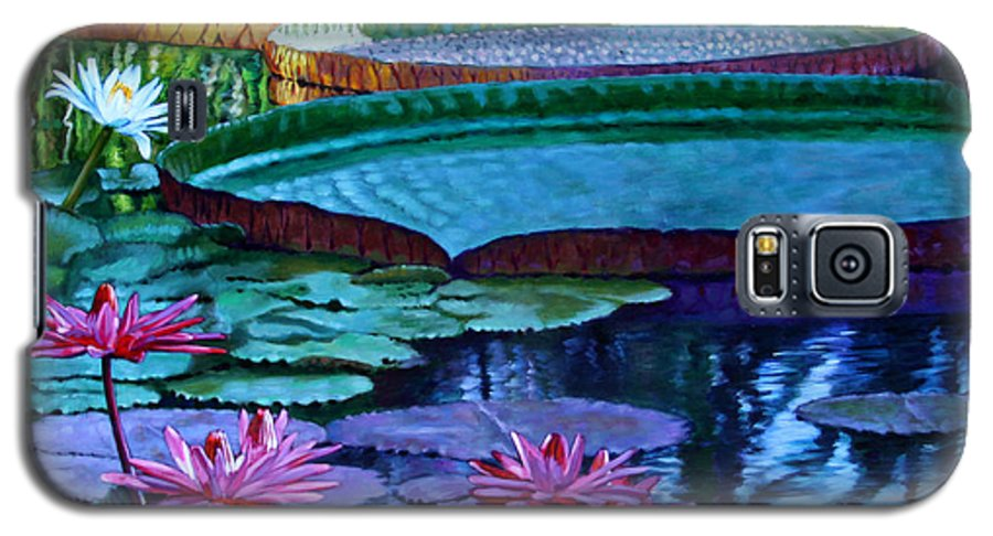 Garden Pond Galaxy S5 Case featuring the painting Stillness Of Color And Light by John Lautermilch