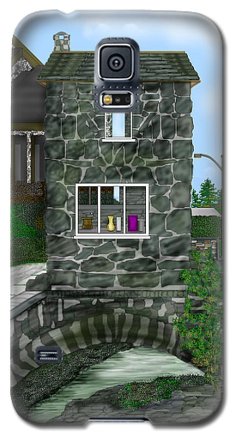 Landscape Galaxy S5 Case featuring the painting Stone Bridge House In The Uk by Anne Norskog