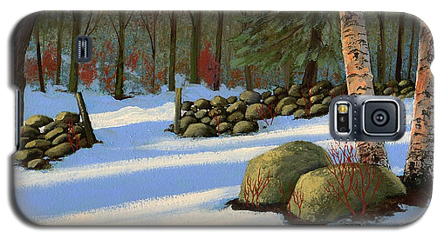 Landscape Galaxy S5 Case featuring the painting Stone Wall Gateway by Frank Wilson