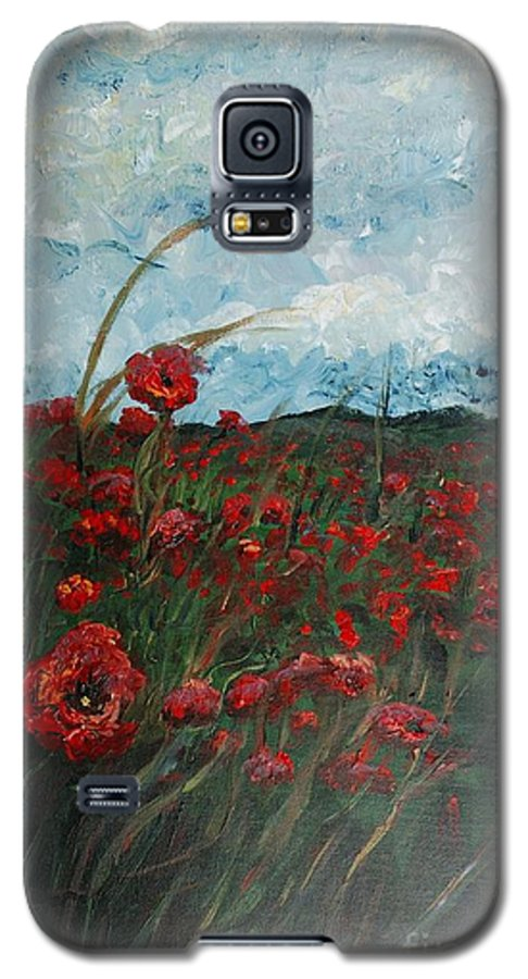 Poppies Galaxy S5 Case featuring the painting Stormy Poppies by Nadine Rippelmeyer