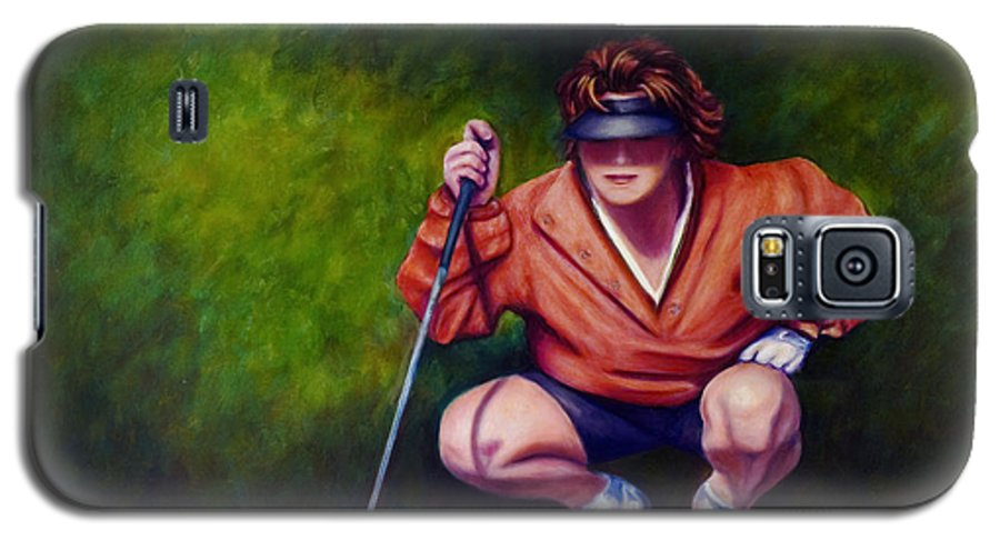 Golfer Galaxy S5 Case featuring the painting Straightshot by Shannon Grissom