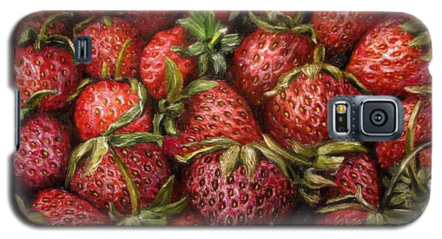Strawberries Galaxy S5 Case featuring the painting Strawberries -2 Contemporary Oil Painting by Natalja Picugina