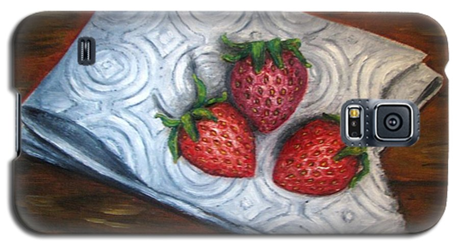 Strawberries Galaxy S5 Case featuring the painting Strawberries-3 Contemporary Oil Painting by Natalja Picugina