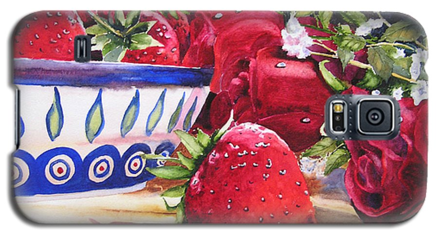 Strawberries Galaxy S5 Case featuring the painting Strawberries And Roses by Karen Stark