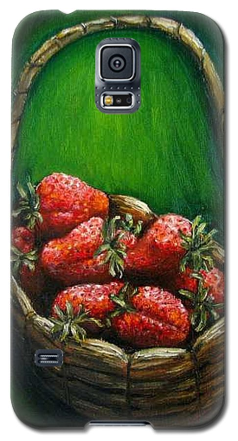 Strawberries Galaxy S5 Case featuring the painting Strawberries Contemporary Oil Painting by Natalja Picugina