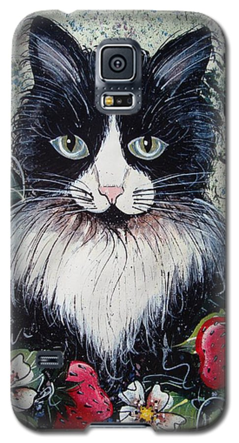 Cat Galaxy S5 Case featuring the painting Strawberry Lover Cat by Natalie Holland