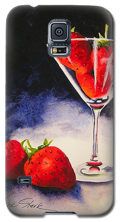 Strawberry Galaxy S5 Case featuring the painting Strawberrytini by Karen Stark