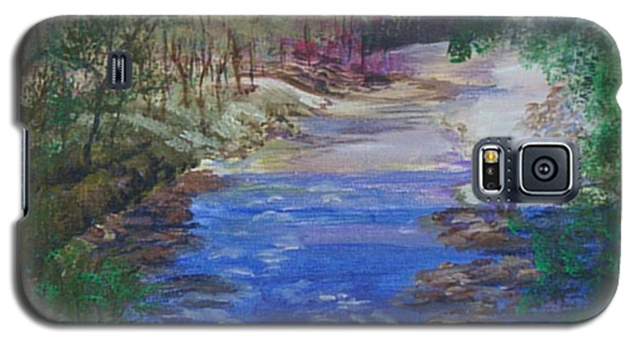 River Galaxy S5 Case featuring the painting Stream At Yosemite by Quwatha Valentine