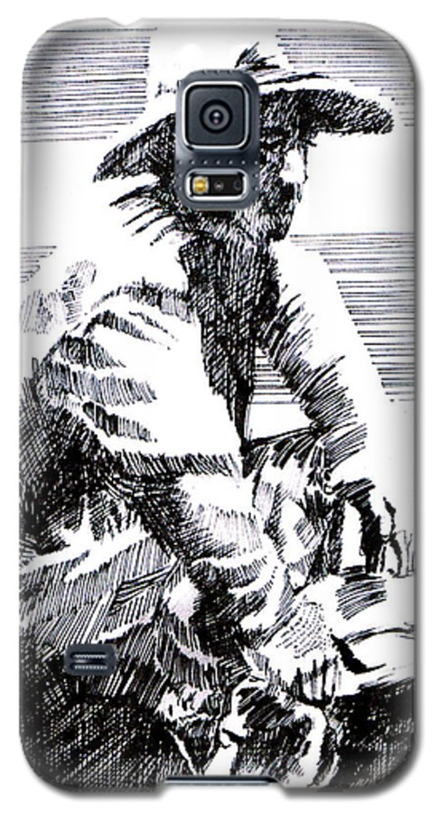 1850's Old West Galaxy S5 Case featuring the drawing Striking It Rich by Seth Weaver