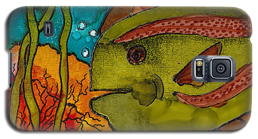 Fish Galaxy S5 Case featuring the painting Striped Fish by Susan Kubes