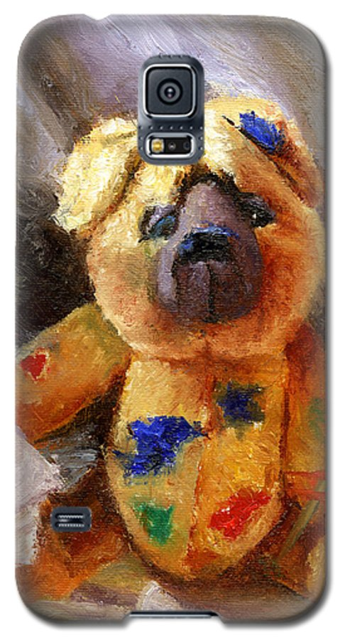 Teddy Bear Art Galaxy S5 Case featuring the painting Stuffed With Luv by Chris Neil Smith