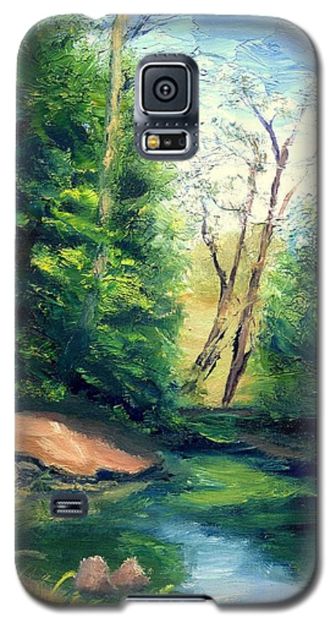 Landscape Galaxy S5 Case featuring the painting Summer At Storm by Gail Kirtz