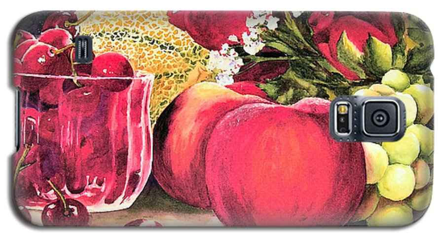 Cherries Galaxy S5 Case featuring the painting Summer Bounty by Karen Stark