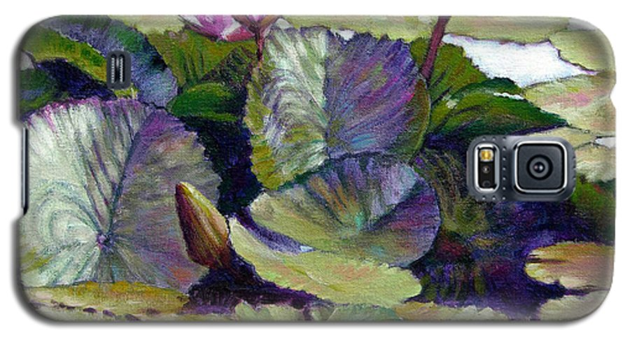 Water Lilies Galaxy S5 Case featuring the painting Summer Breeze by John Lautermilch