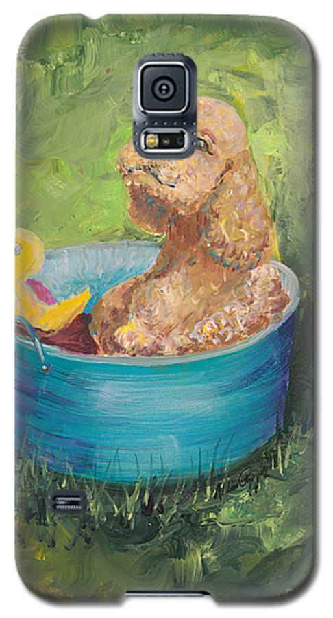 Dog Galaxy S5 Case featuring the painting Summer Fun by Nadine Rippelmeyer