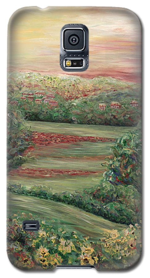 Landscape Galaxy S5 Case featuring the painting Summer In Tuscany by Nadine Rippelmeyer