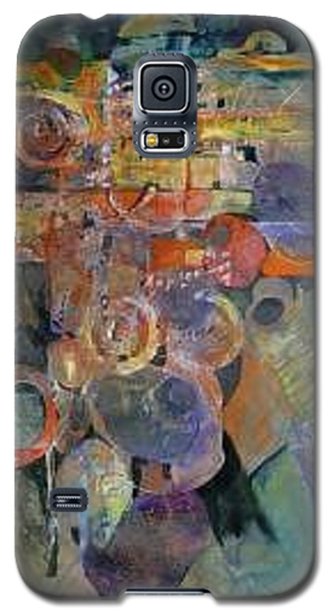 Abstract Shapes Galaxy S5 Case featuring the painting Summer Night City Uneartherd by Marlene Gremillion