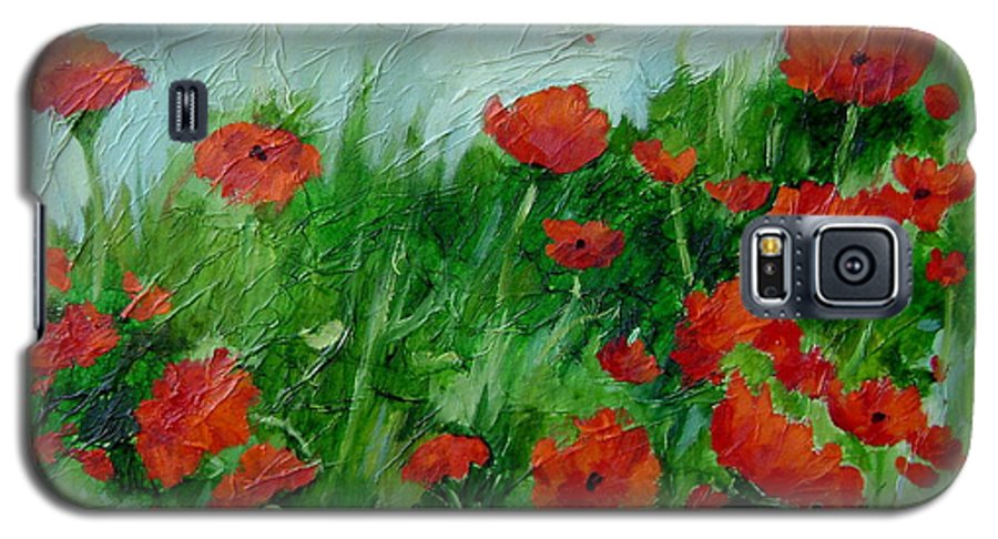 Red Poppies Galaxy S5 Case featuring the painting Summer Poppies by Ginger Concepcion