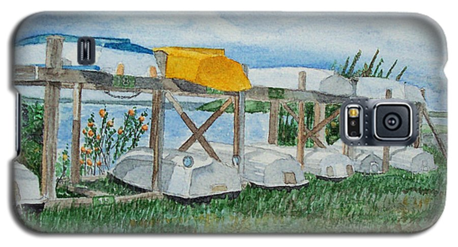Rowboats Galaxy S5 Case featuring the painting Summer Row Boats by Dominic White