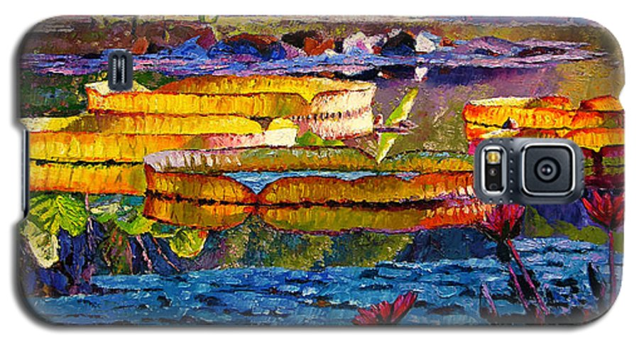 Water Lilies Galaxy S5 Case featuring the painting Sun Color And Paint by John Lautermilch