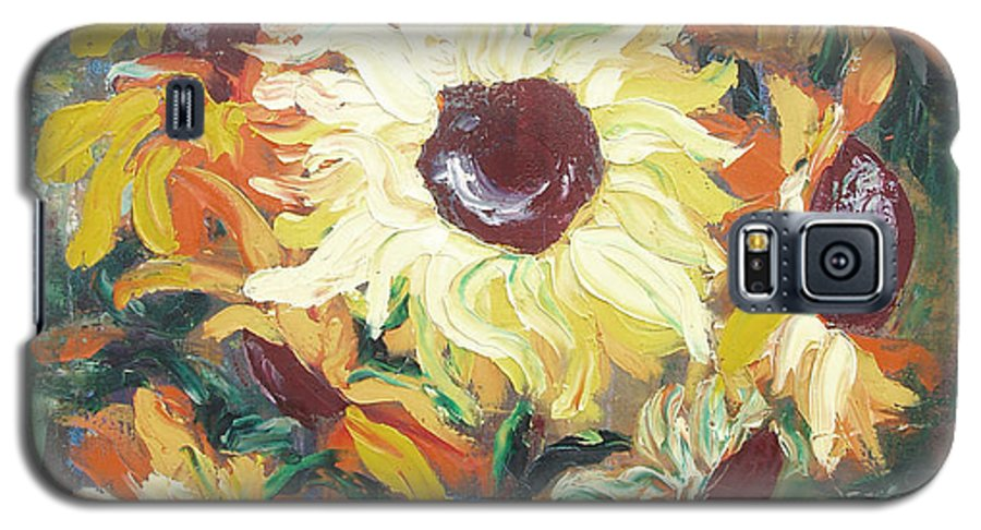 Sunflowers Galaxy S5 Case featuring the painting Sun In A Vase by Gina De Gorna