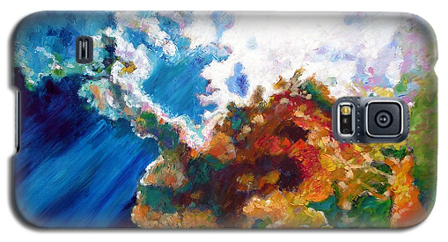 Sunburst Galaxy S5 Case featuring the painting Sunburst by John Lautermilch