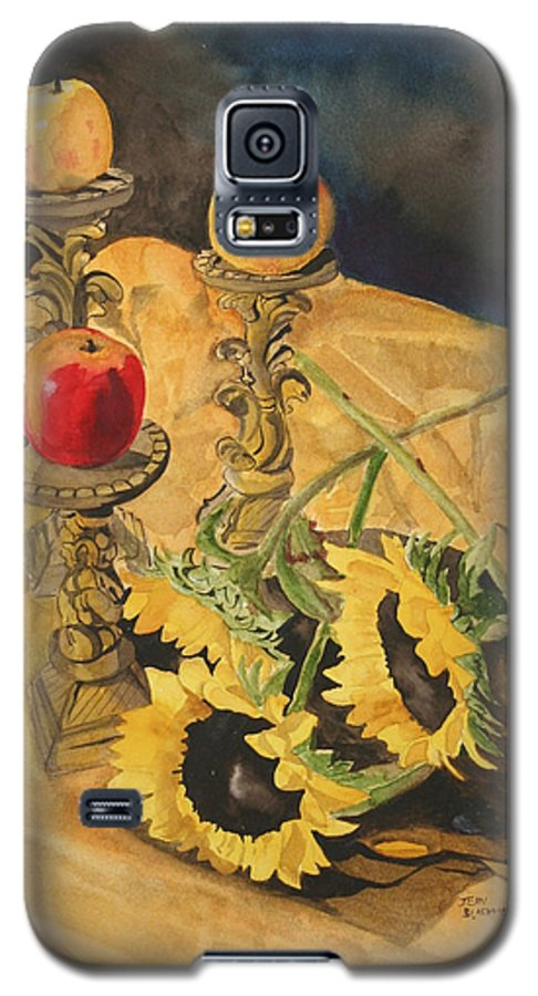 Still Life Galaxy S5 Case featuring the painting Sunflowers And Apples by Jean Blackmer