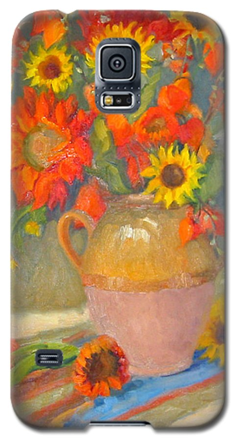 Sunflowers Galaxy S5 Case featuring the painting Sunflowers And More by Bunny Oliver