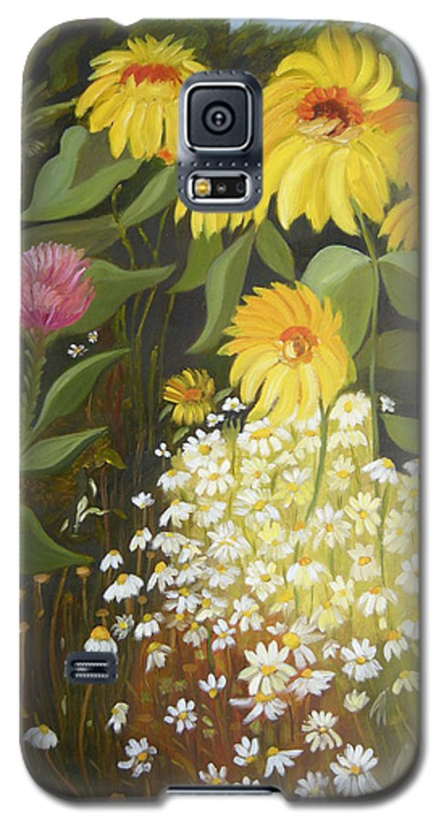 Landskape Galaxy S5 Case featuring the painting Sunflowers by Antoaneta Melnikova- Hillman