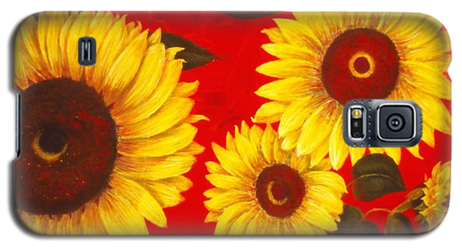 Flowers Galaxy S5 Case featuring the painting Sunflowers IIi by Mary Erbert