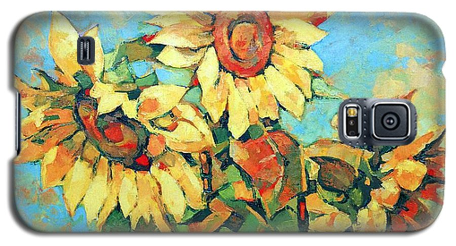 Sunflowers Galaxy S5 Case featuring the painting Sunflowers by Iliyan Bozhanov