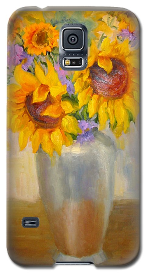 Sunflowers Galaxy S5 Case featuring the painting Sunflowers In A Silver Vase by Bunny Oliver
