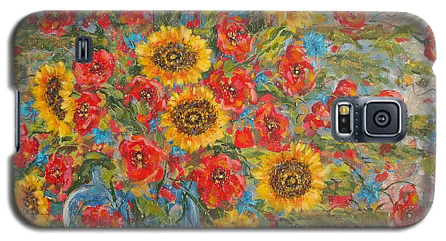 Flowers Galaxy S5 Case featuring the painting Sunflowers In Blue Pitcher. by Leonard Holland