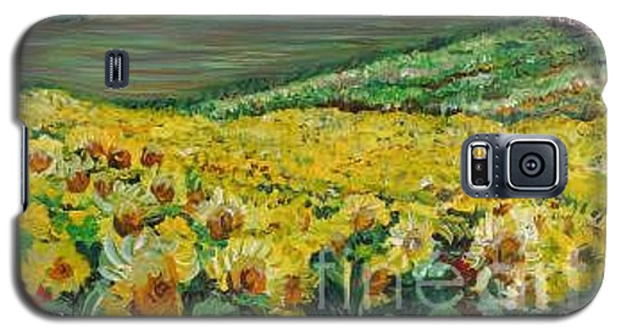 A Field Of Yellow Sunflowers Galaxy S5 Case featuring the painting Sunflowers In Provence by Nadine Rippelmeyer
