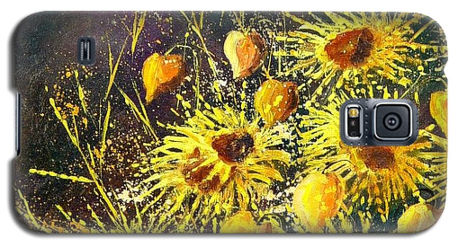 Flowers Galaxy S5 Case featuring the painting Sunflowers by Pol Ledent