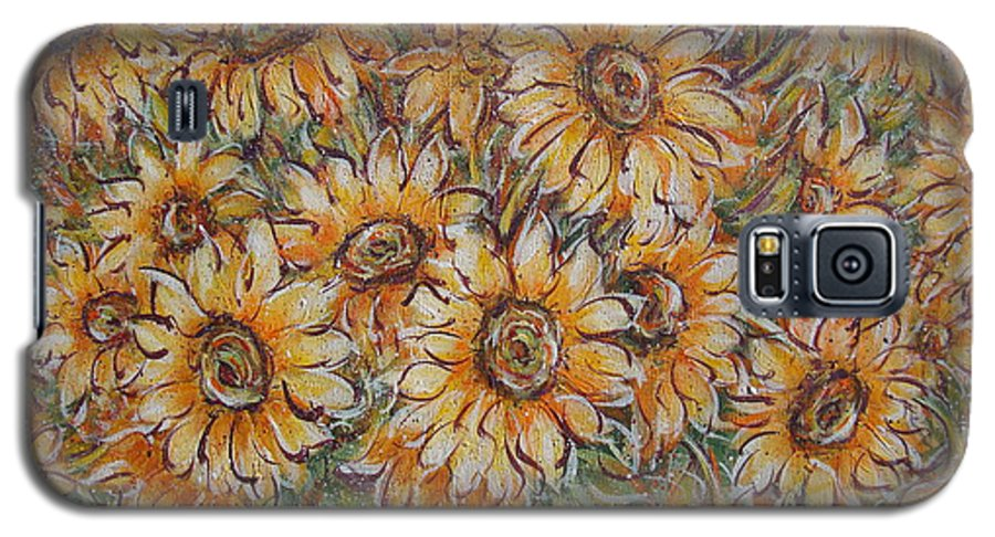 Flowers Galaxy S5 Case featuring the painting Sunlight Bouquet. by Natalie Holland