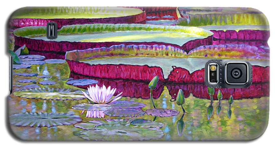Lily Pond Galaxy S5 Case featuring the painting Sunlight On Lily Pads by John Lautermilch