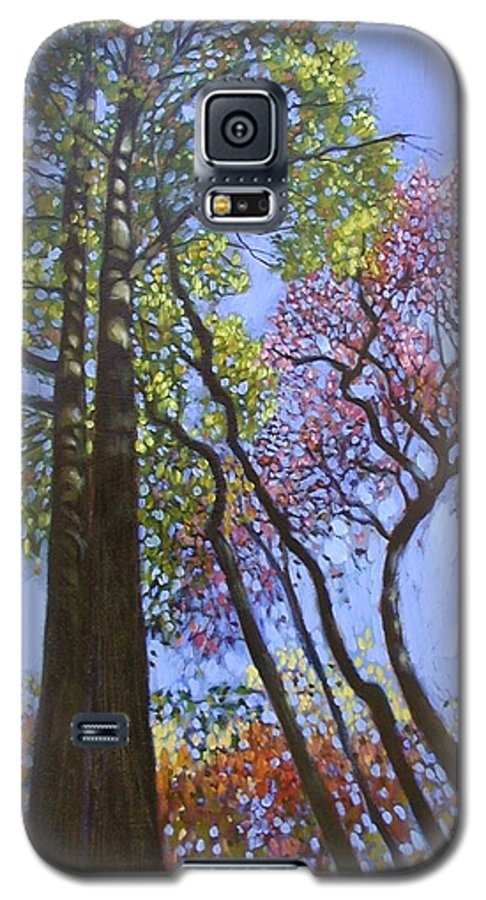 Fall Trees Highlighted By The Sun Galaxy S5 Case featuring the painting Sunlight On Upper Branches by John Lautermilch