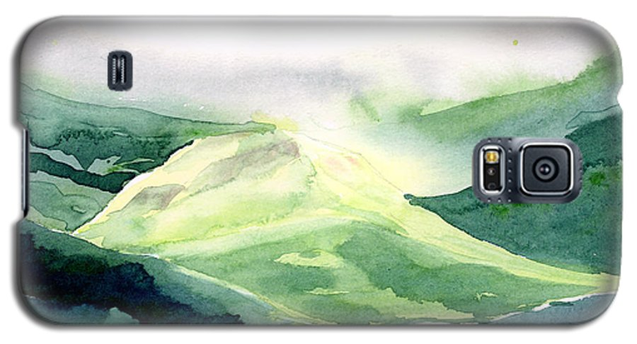 Landscape Galaxy S5 Case featuring the painting Sunlit Mountain by Anil Nene