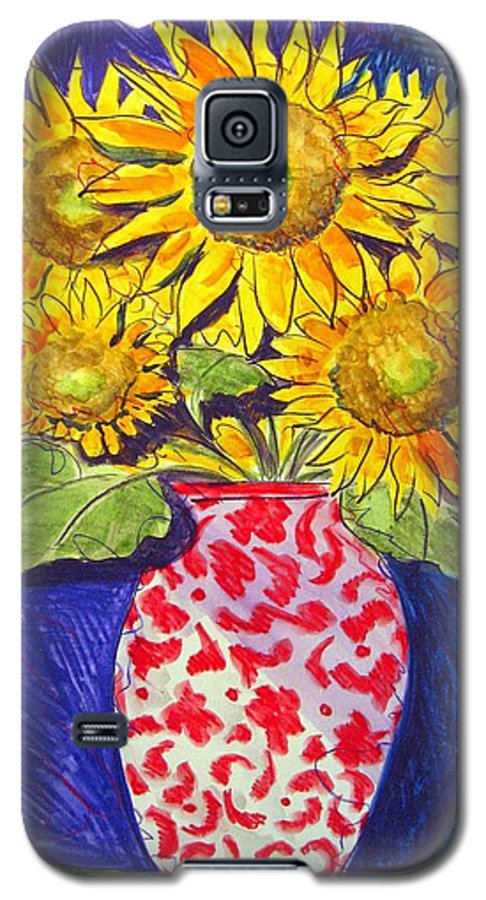 Sunflower Galaxy S5 Case featuring the painting Sunny Disposition by Jean Blackmer