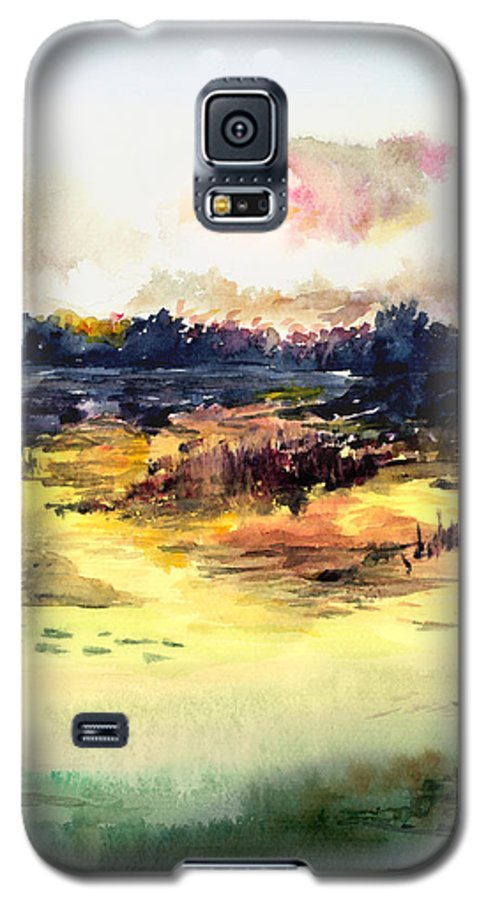Landscape Water Color Sky Sunrise Water Watercolor Digital Mixed Media Galaxy S5 Case featuring the painting Sunrise by Anil Nene