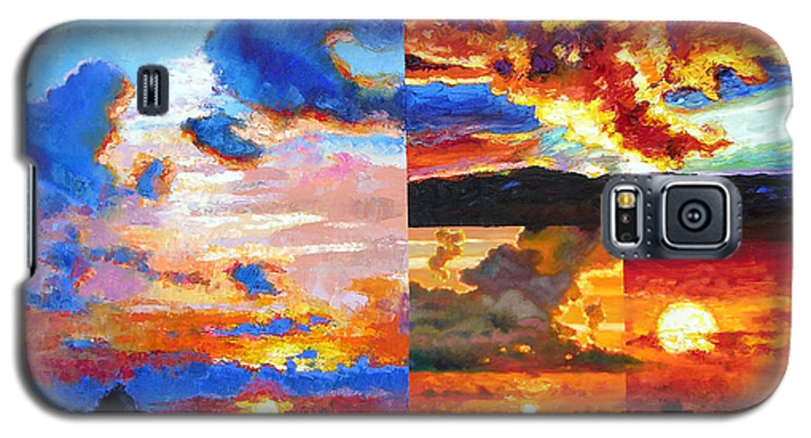 Sunrise Galaxy S5 Case featuring the painting Sunrise Sunset Sunrise by John Lautermilch
