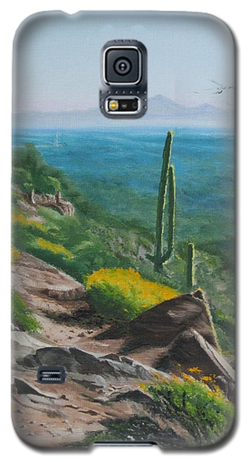 Landscape Galaxy S5 Case featuring the painting Sunrise Trail by Lea Novak
