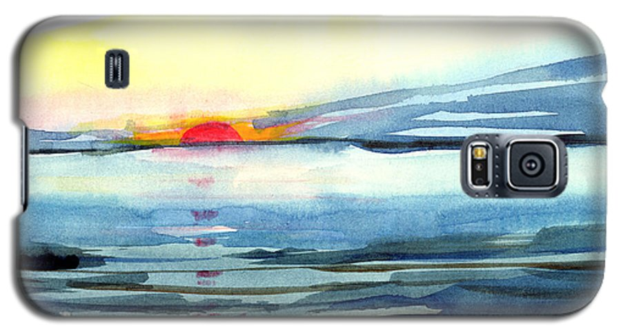 Landscape Seascape Ocean Water Watercolor Sunset Galaxy S5 Case featuring the painting Sunset by Anil Nene